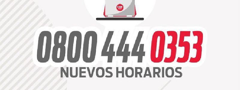 IMPORTANTE: Nuevos Horarios de Atención del 0800 del COE